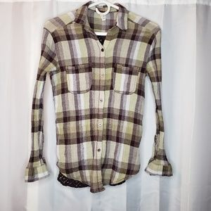We the Free brown green plaid button up top